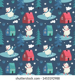 Seamless cute winter pattern with bears skate, houses, trees, forest, new year, smoke from ruby, hearts, wild wildness animals love snowflake