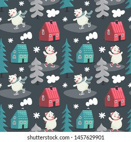 Seamless cute winter pattern with bears skate, houses, trees, forest, new year, smoke from ruby, hearts, wild animals love snowflake