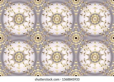 Seamless damask pattern background for wallpaper design in the style of Baroque. Ornate raster decoration. Golden pattern on gray and neutral colors with golden elements.