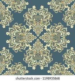 Seamless damask pattern. Floral vintage background
