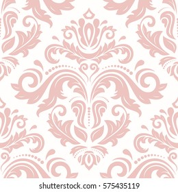 Seamless damask pattern. Traditional classic orient ornament. Light pink pattern