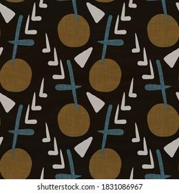 Seamless dark dotty linen background. Moody dye wash circle texture. Mid century 50s soft furnishing fabric style. Masculine winter spot pattern fabric all over print
