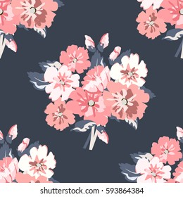 Seamless delicate pattern of bouquets. Summer flowers. Floral background for textile, covers, manufacturing, wallpapers, print, gift wrap and scrapbooking. Trendy colors millefleurs. Raster copy.
