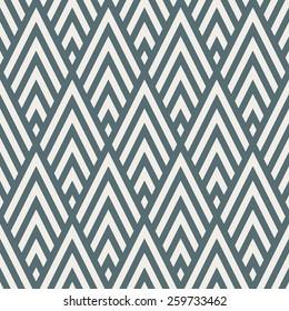 Seamless denim blue rhombic chevrons art deco pattern