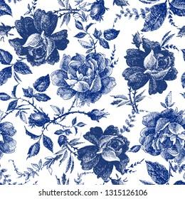 seamless design with roses flowers. Fairytale forest. hand drawn vintage botanical pattern line graphics. fashion textile design Indigo color. floral illustration
