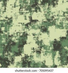 Seamless digital camouflage pattern. Green camouflage for hunting and fishing. Woodland camouflage.