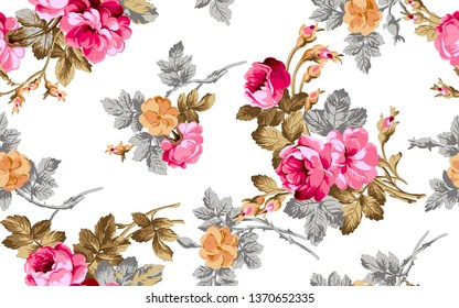 seamless digital flower pattern on white background