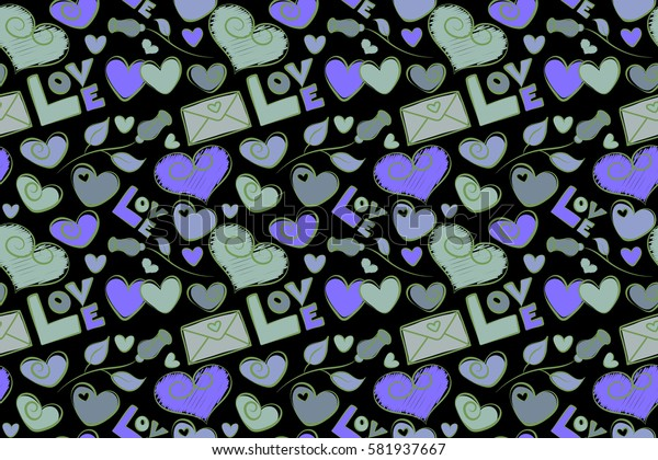 Seamless doodle elements in violet and green colors. Valentine colorful hearts seamless pattern raster illustration over a black background.
