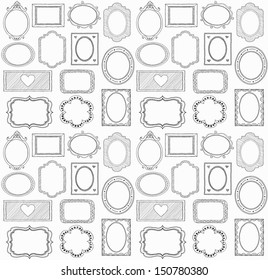 Seamless doodle frame set. . In my portfolio there is vector version of this illustration.