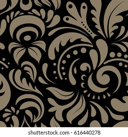 Seamless doodle pattern in beige colors for design, textile or fabric.