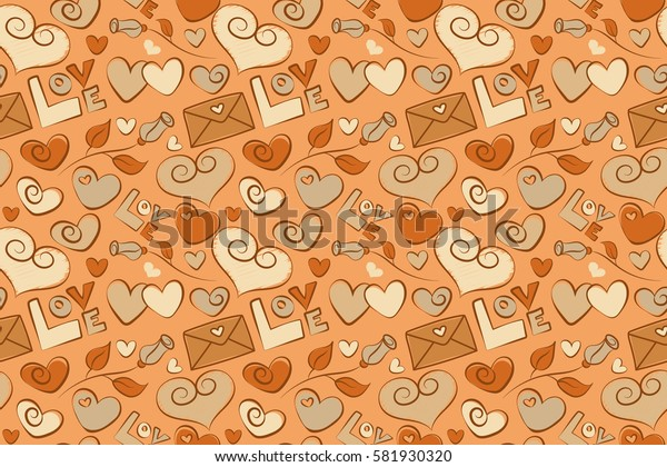 Seamless doodle pattern. Summer and spring design. Abstract seamless pattern. Rose flower, love text and letter, haerts in yellow, beige and orange colors. Exotic raster pattern.