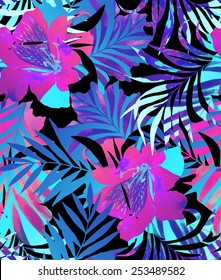 seamless double exposure floral pattern. tropical floral motifs in abstract and trendy layout. summer fashion look, black background.