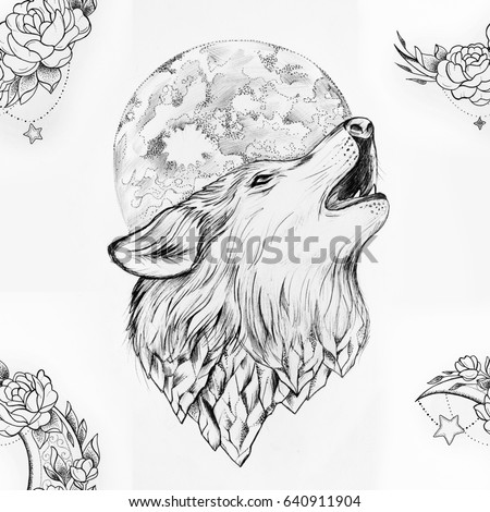 Seamless Drawing Wolf Howling Moon On Stock Illustration 640911904
