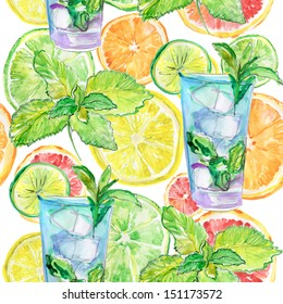 seamless drink pattern with flower, orange, glass and lime