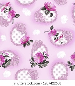 seamless duvet cover pattern on lilac background with lilac daisies and lilac daisies on lilac background