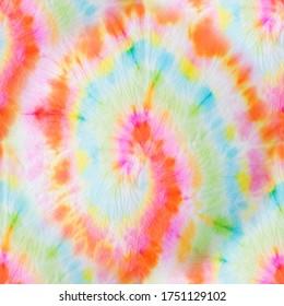 Seamless Dye. Fantasy Texture. Swirled Tie Dye Texture. Bright Hand Drawn Design. Tie and Dye. Beautiful Acrylic Print. Trendy Artistic Dirty Paint. Rainbow Hand Drawn Dirty Art.