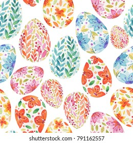 Seamless easter pattern consisting of multi-colored eggs. Watercolor drawing