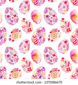 Seamless Easter pattern made of watercolor folk painted eggs. Watercolor drawing.