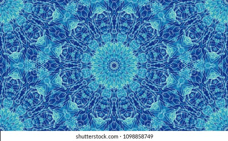 Seamless elven pattern. Medieval watercolor fantasy floral ornament for elf cloth design. Abstract background hand painted water color print for fabric, batik, textile. Blue, green colors.