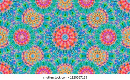 Seamless elven pattern. Medieval watercolor fantasy floral ornament for elf cloth design. Abstract background hand painted water color print for fabric, batik, textile. Pink,blue, green colors.