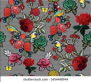 Seamless Embroidery Flowers Hounds Tooth Pattern Endless Design