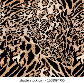 Seamless Endless Hand Drawn Leopard Animal Skin Pattern Isolated Background