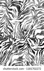 Seamless Endless Hand Drawn Watercolor Abstract Animal Skin Zebra Pattern Gradient Tie Dye Colorful Background
