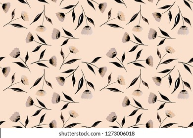 Seamless Endless Hand Drawn Watercolor Abstract Flowers Leaves Florals Ditsy Pattern Isolated Background