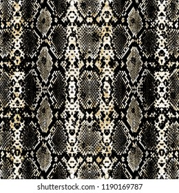 Seamless Endless Hand Painting Watercolor Abstract Snake Animal Skin Print Pattern Colorful Tie Dye Beige Background