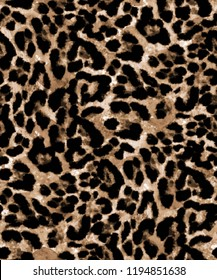 Seamless Endless Hand Painting Watercolor Animal Skin Realistic Leopard Print Pattern