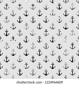 Seamless Endless Hand Painting Watercolor Anchor Pattern Isolated Background