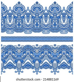 seamless ethnic floral paisley stripe pattern, border set, ukrainian tribal ornament for print or embroidery ribbon, or for the design of polygraphy or web, raster version