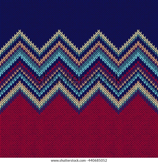 Seamless Ethnic Geometric Knitted Pattern. Red Vinous Blue White Christmas Horizontal Seamless Background