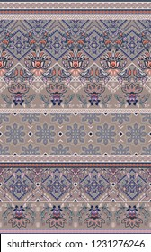 seamless ethnic horizontal border pattern. Geometric elements with floral motifs, fantasy flowers.