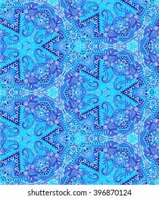 seamless ethnic indigo pattern with scarf or bandana inspirations.