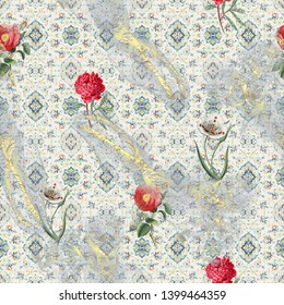 Seamless ethnic with mughal floral pattern on digital background