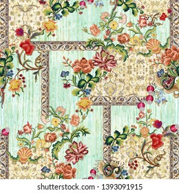 Seamless ethnic paisley floral motif on digital background pattern