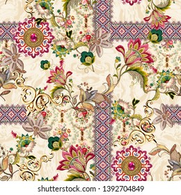 Seamless ethnic paisley with mughal floral  pattern on cream background