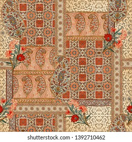 Seamless ethnic paisley mughal floral Motif pattern on digital background