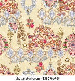Seamless ethnic paisley with mughal floral digital yellow background