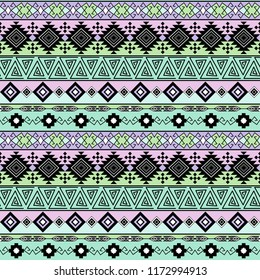 Seamless ethnic striped pattern, pink, green background.