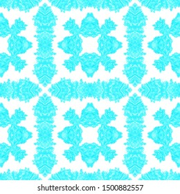 Seamless Ethnic Tile. Blue and White Colors. Repeated Traditional Wallpaper. Ink Textured Gouache Effect. Vintage African Print. Watercolor Ethnic Tile.