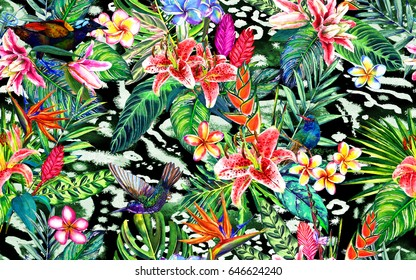 Seamless exotic paradise floral pattern. Hand painted watercolour tropical leaves, flowers and birds, on animal print. Botanical background. Textile design.