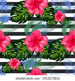 Seamless exotic pattern with tropical leaves and flowers on the black white geometric background. Hibiscus, palm.