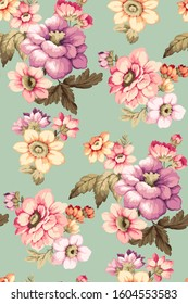 Seamless fabric pattern with big flowers. Beautiful choice for home decor and clothing with flowers in purple, pink and yellow colors on blue background.