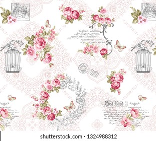 Seamless fabric pattern with bird, cage, lettering, butterfly, wild flowers and roses in figured frame on white background