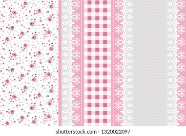 seamless fabric pattern with lace texture, plaid and pink wild flowers across white background