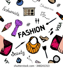 Seamless Fashion Pattern with Scarves, Handbags, Beauty Boxes, Cosmetics, Shoes and Ice Cream