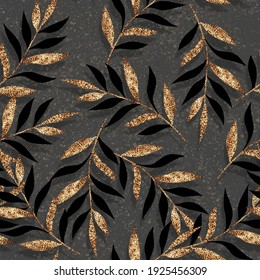 Seamless fashionable abstract floral pattern background with branches and gold leaves