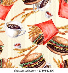 Seamless fast food pattern with cheeseburgers and french fries painted in watercolor
